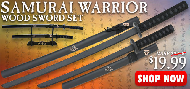 2-Piece Samurai Warrior Wood Sword Set