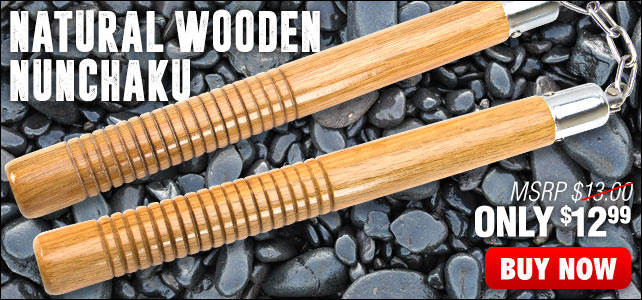Natural Wooden Nunchaku With Ball Bearing Chain