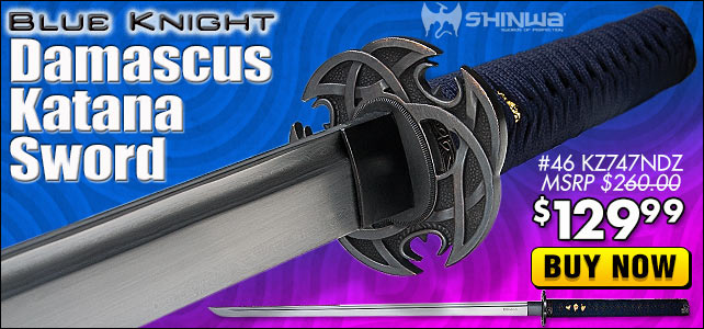 Shinwa Blue Knight Damascus Katana Sword