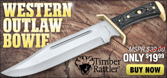 Timber Rattler Western Outlaw Bowie Knife and Sheath