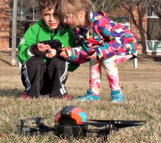 drone and kids